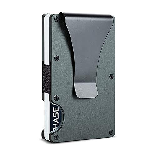 Minimalist Metal Wallet with Money Clip - Slim Aluminum Credit Card Holder RFID Blocking Front Pocket Wallets for Men and Women