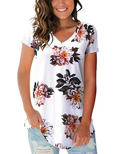 Women Boho T Shirts Short Sleeve Loose Cute Tunic Tops Floral White XL