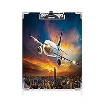 カスタム クリップボード クリップファイル 旅行の装飾 学校・ご家庭・オフィスなど場所 都市の夕日の画像オレンジブルーの空気夜景に飛行機で空港の空撮