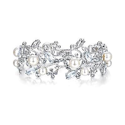 EVER FAITH Austrian Crystal White Simulated Pearl Bridal Prom Floral Leaf Tennis Bracelet