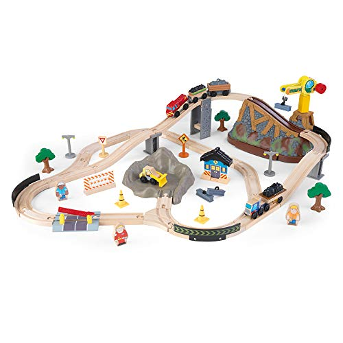 KidKraft- Bucket Top Construction Ensemble Train en Bois pour Enfant Voie Ferrée Classique avec Grue et Accessoires, 17805, Multicolor, 61 Pièces