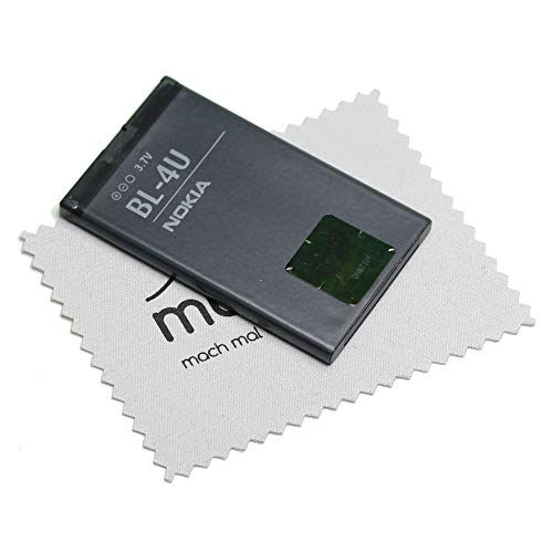 Batteria originale Nokia BL-4U per Nokia 301, 3120, 500, 515, 5250, 5330, 5530, 6600, 8800, C5, E75, Asha 210 con panno Mungoo per la pulizia dello schermo