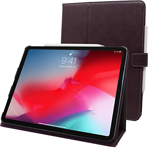 Snugg iPad Pro 2018 11' Leather Case, Flip Stand Cover - Amethyst Purple