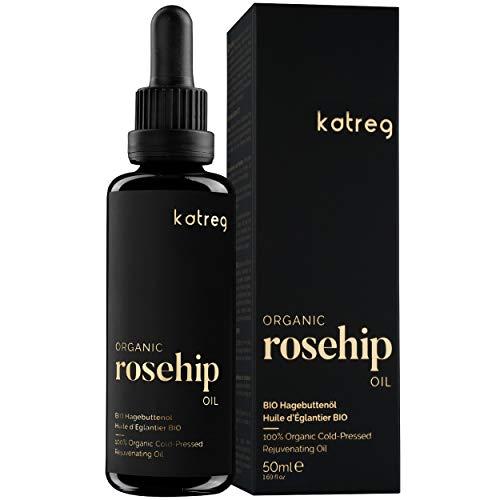 Katreg Bio Hagebuttenöl - 100% natürliches Serum für Haut- &Haarpflege - Hydriert, pflegt, erhellt - Bio-Extrakt, reich an Vitamin C, A, B & E - Kaltgepresst aus Früchten der Wildrose - 50 ml