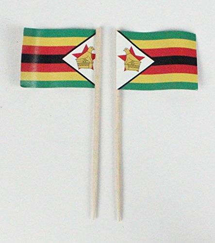 Buddel-Bini Party-Picker Flagge Simbabwe Afrika Papierfähnchen in Spitzenqualität 50 Stück Beutel