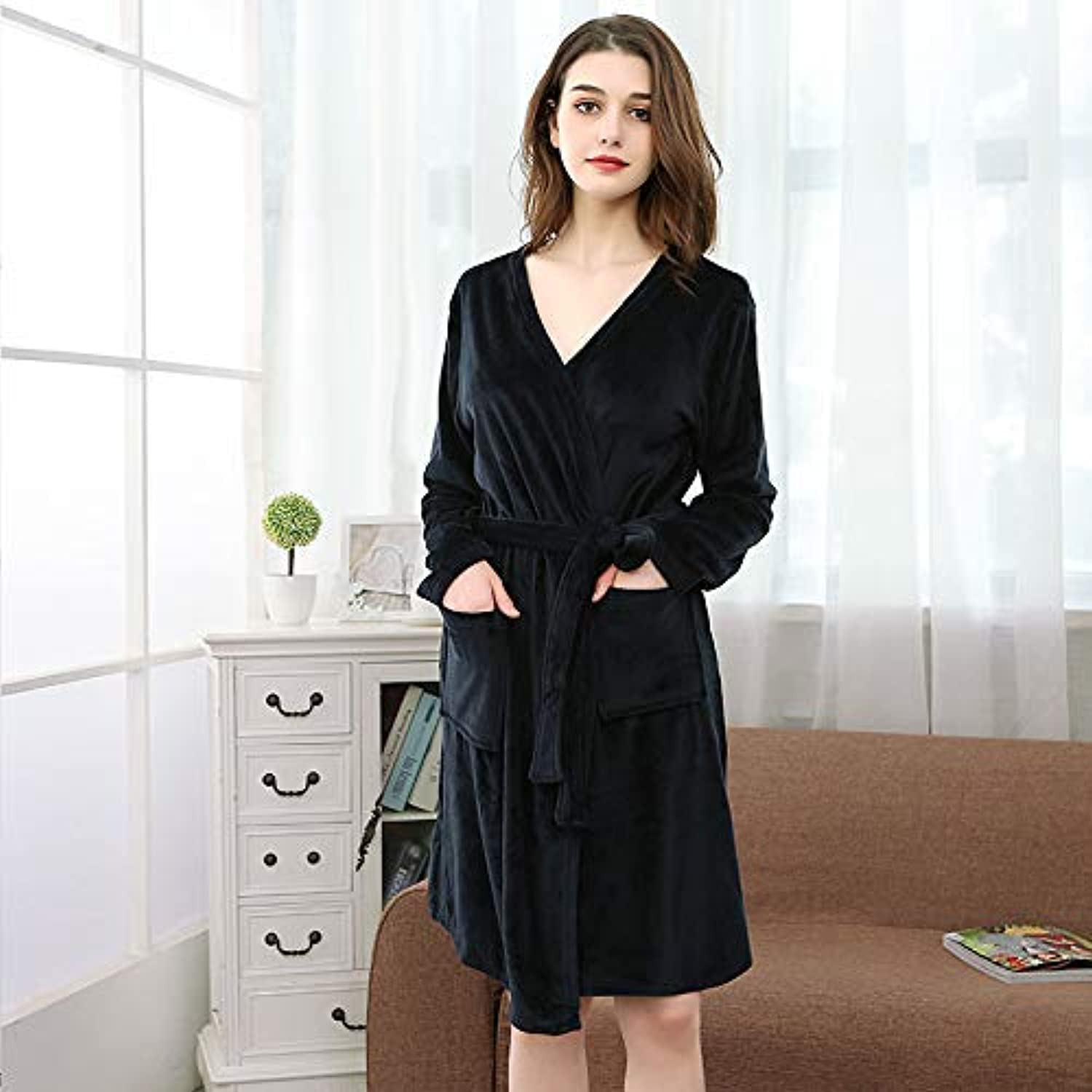 Cute Pajamas Summer Pajamas Women's Soft Comfortable Island Velvet Bathrobe Cardigan Long Sleeve Absorbent Couple Nightgown (color   Navy) Sexy Sleepwear (color   Navy)