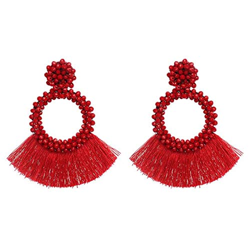 U/K Tassels Earrings Ladies Hanging Earrings Girls Earrings Stud Earrings Statement Earrings Round Beads Tassel Dangle Earrings Vintage Jewelry For Women (Color : 2)