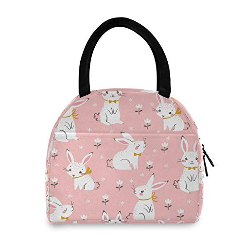 Toprint Cute Floral Bunny Lunch Bag Box Rabbit Animals Lunchbox Cooler Bag Tote Organizer Insulated Lunch Box Drink Holder Container Zipper Handbag for Women Men Outdoor Picnic Beach Work School