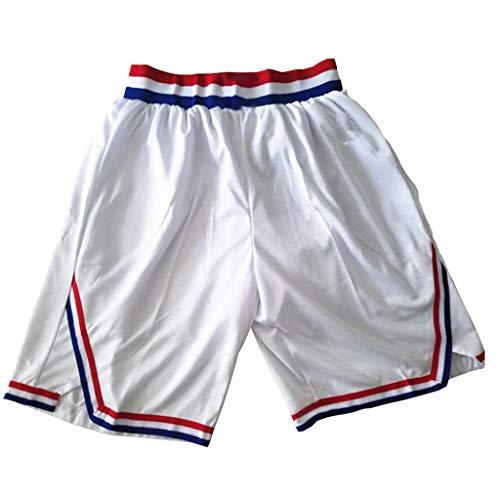 XYHS Retro All-Star Basketball-Shorts, neutrale atmungsaktive Netz-Basketball-Hose mit Tasche mit Reißverschluss (schwarz/weiß, S-XXL) Gr. XL, weiß