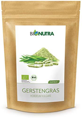 BioNutra® Gerstegras capsules biologisch 240 x 500 mg, Duitse GMP-productie, 100% puur biologisch gerstegras poeder (Hordeum vulgare), zonder toevoegingen