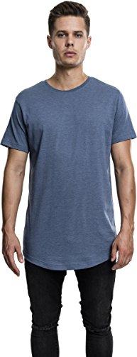Urban Classics TB1767 Herren T-Shirt Shaped Melange Long Tee - Kurzarm Longshirt für Männer mit Rundhals-Ausschnitt und abgerundetem Saum, einfarbig - Farbe stone blue, Größe L