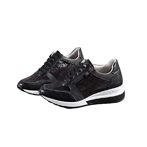 Zapatos Gruesos para Mujer, Suela Suave con Cordones para Exteriores, Primavera y otoño, Resistentes al Desgaste, para Caminar, Correr, para Correr, Zapatillas de cuña para Mujer
