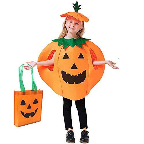 Halloween Kids Pumpkin Costume, 3 PCS Pumpkin Cosplay Set Included Pumpkin Tote Bag(9.8 x 11.8 inch Orange