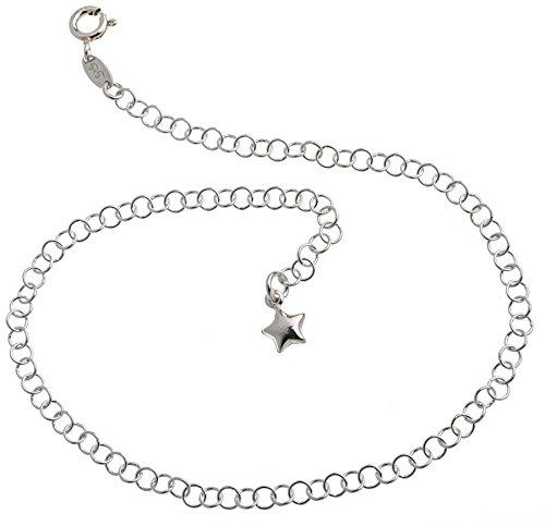 Cavigliera in argento (catena rolò) con ciondolo a forma di stella, larghezza 3,5 mm, lunghezza a scelta 23-30 cm, in vero argento 925 e Argento, cod.