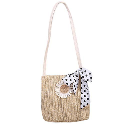 Damen Stroh Handtasche, NALCY Stroh Clutch, Frauen Strandtasche, Sommer Handarbeit Umhängetasche, Damen Stroh Kupplung Sommer Strand Handtasche für Mädchen Reise Outdoor Schule