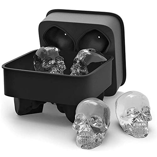 KF 3D Skull Flexible Silicone Tray, Makes Four Giant Skulls, Round Ice Cube Maker, Black- Pack of 1