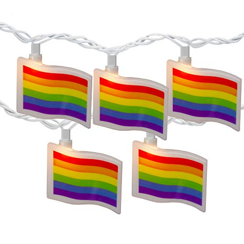 10-Count Clear Pride Flag Novelty String Light Set, 7.5ft White Wire