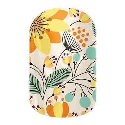 Sweet Whimsy (Glossy Finish) - Jamberry Nail Wraps - HALF Sheet - Yellow Floral on White
