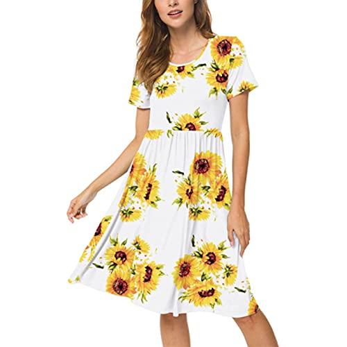 Xmiral Kurzarmkleider für Damen Sommer Beiläufig Hohe Taille Taillenkleid mit Taschen(c-Gelb,S)