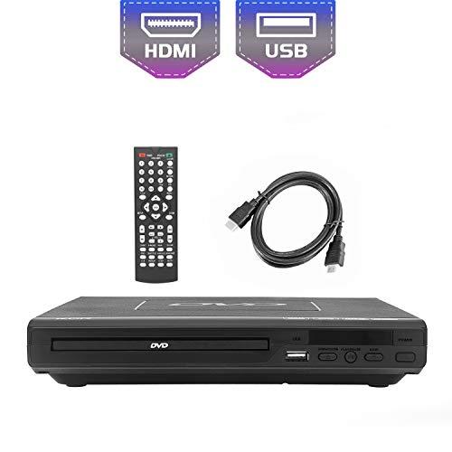Lettore DVD per TV, DVD / CD / MP3 / MP4 con presa USB, uscita HDMI e AV (cavo HDMI e AV incluso), telecomando, colore nero, per tutte le regioni (non legge Blu-ray)