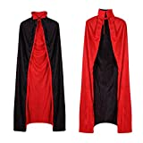 Capa de Vampiro, Vampiro Cuello Capa, Capa Reversible Negro Rojo, Capa Dracula, Vampiro Traje, Disfraces de Vampiros para Adultos Niños Fiesta de Halloween Cosplay, 140cm