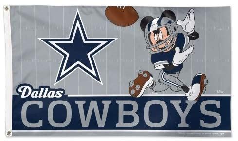 Dallas Cowboys Mickey Mouse Flag Football 3x5- With Grommets