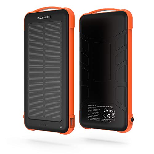 Solar Charger RAVPower 15000mAh Outdoor Portable Charger Solar Power Bank Dual...