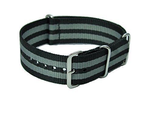 Pure Grey Bracelet de Montre NATO en Nylon Noir/Gris 18mm