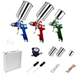 Goplus HVLP Air Spray Gun Set- 3 Sprayguns, Auto Paint, Basecoat, Clearcoat, Primer, Topcoat & Touch-Up w/Carrying Case