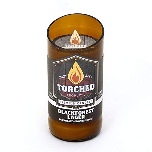 Torched Beer Scented Candles | Natural Soy Wax Candle | Blackforest Lager Scent 8 oz | Makes a Great Gift for Men, Beer Lovers, and Collectors | Bar Man-Cave Decor and Accessories