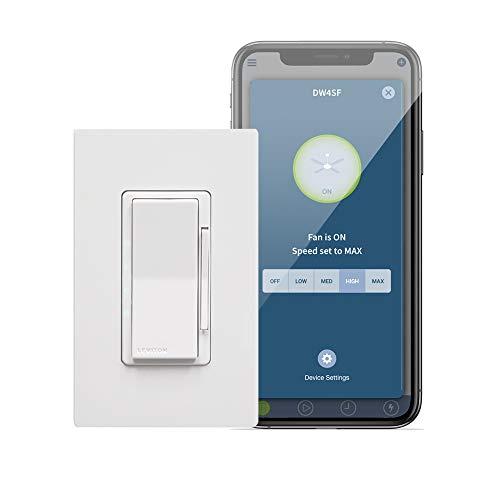 Leviton DW4SF-1BW Decora Smart Wi-Fi Fan Speed Controller, White
