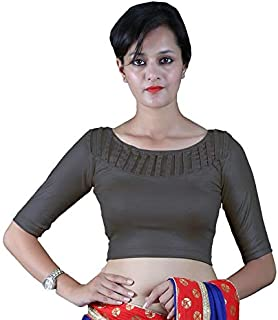 8a48e4e178 Gebisha Fashion Women's Lycra Designer Front Beads Work Half Sleeve  Stretchable Blouse