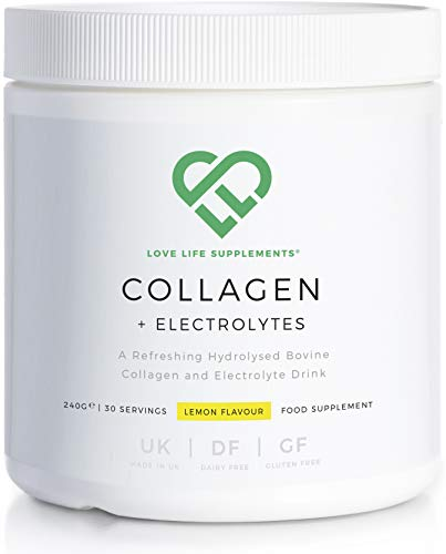 Collagen + Electrolytes by LLS | 240g - 30 Servings | Lemon Flavour | A Refreshing Hydrolysed Bovine Collagen and Electrolyte Drink