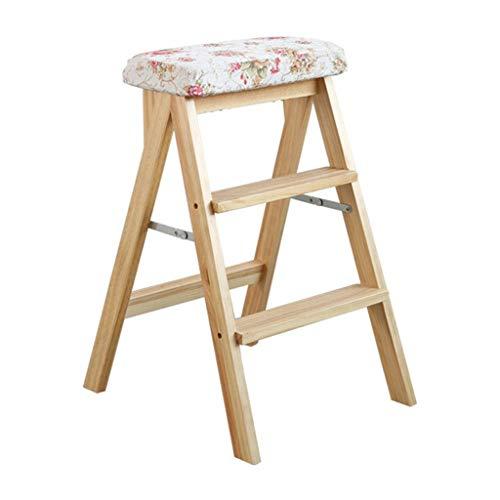 Opvouwbare ladder, draagbaar, barkruk, opvouwbaar, multifunctioneel, ladder van zacht hout, zitkussen, afneembaar en wasbaar.