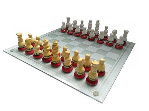 M.I.C. GmbH Schachspiel aus Keramik und Glas, Schach Brett Figuren 35 x 35 cm