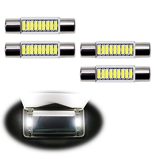 iJDMTOY 4pcs Extremely Bright 9-SMD 29mm 6614 LED Replacement Bulbs Compatible With Car SUV Truck Sunvisor Flips Vanity Mirror Lights, Xenon White