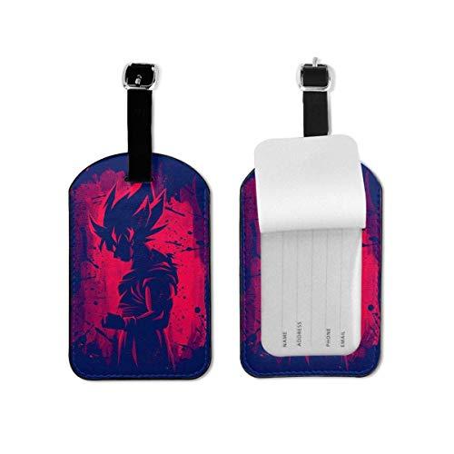 Etiquetas de Equipaje Dragon Ball Z Red Goku Etiquetas de Equipaje Maletas Bolsas de Equipaje Correa Ajustable Etiqueta de Equipaje de Cuero para Etiquetas de identificación para Viajes