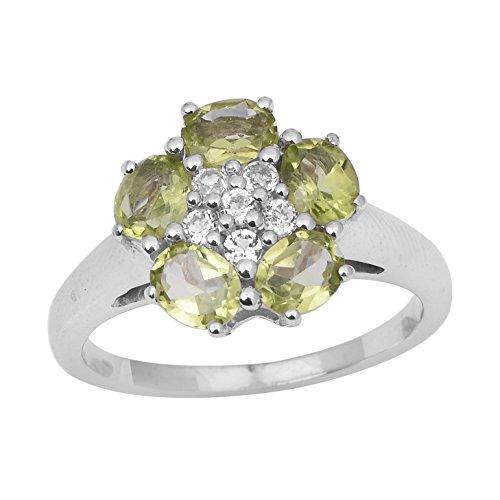 Anillo de plata de ley con piedras preciosas preciosas en gemas brillantes (P 1/2)