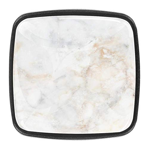 Mármol blanco paquete de 4 manijas cuadradas de cristal GlassDoor manija del cajón, gabinete cajón, gabinete cajón,
