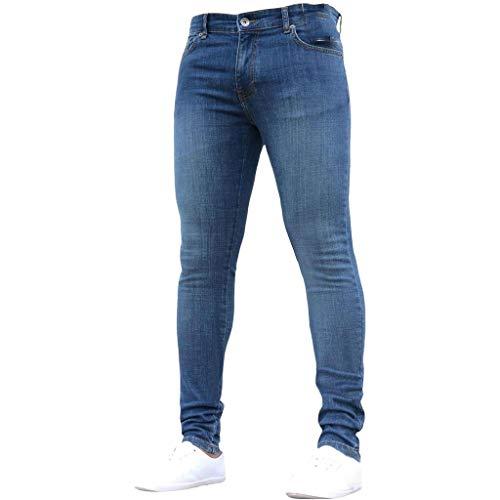 Subfamily Pantalón Slim Denim de Color Liso para Hombre, Pure Color Denim Cotton Vintage Wash Hip Hop Pantalones de Trabajo Jeans Pantalones Azul Oscuro S