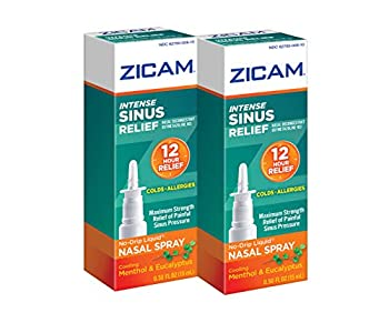 Zicam Intense Sinus Relief No-drip Liquid Nasal Spray with Cooling Menthol & Eucalyptus 0.5 Ounce  Pack of 2