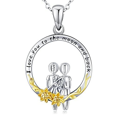 Collar con colgante de plata de ley para hermanas, siempre mi hermana, para siempre, mi amigo, collar con colgante de flor de oro para mujer, regalo de joyería para mujeres, hermanas, amigos