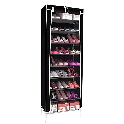 ShangSky 10-stufiger Schuhregal-Organizer, abwaschbare Schuhregale, Rolltor-Design für das Home Office