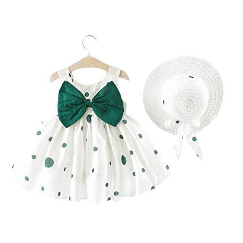 Vestido de Verano para niña Elegante Imprimiendo Arco sin Mangas Vestido De Princesa Vestidos Playa + Sombrero de Sol con Lazo Conjunto