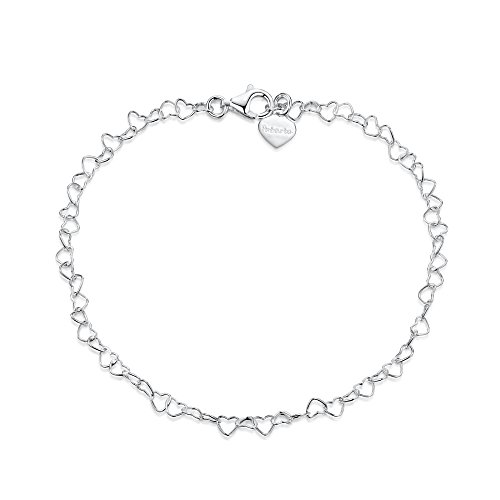 925 Fine Sterling Silver Naturally Adjustable Anklet - 3 mm Heart Chain Ankle Bracelet - up to 10' inch - Flexible Fit