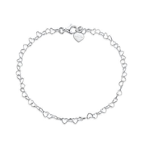 Amberta 925 Sterlingsilber Damen-Armkette - Herzkette Armband - 3 mm Breite - Verschiedene Längen: 18 19 cm (19cm)
