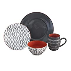 This 16 piece dinnerware set is made of durable stoneware which gives an aesthetic look The dinner set comes with a variety of colorful and vibrant patterns which complements the existing kitchenware This luxury dinnerware set brings elegance to any ...