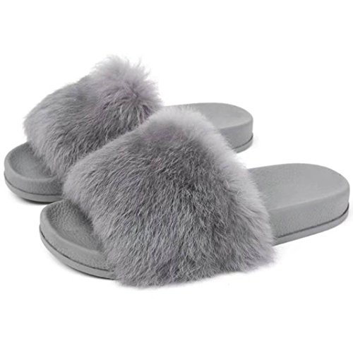 Pantofola Donna ,FeiXIANG® Donna Piatta Antiscivolo Morbido Soffice Pelliccia Finta Pantofola Flip Flop Sandalo(Gomma) (39, Grigio)