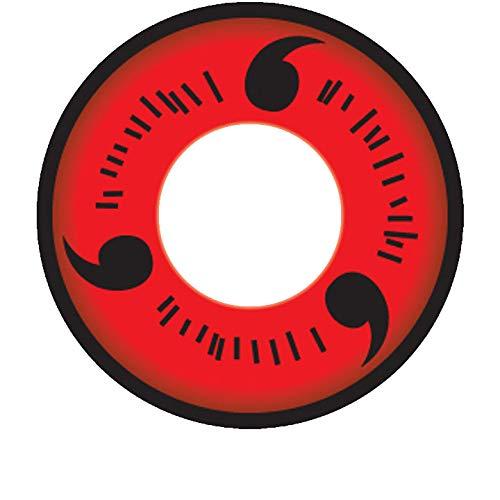 MATLENS - EOS Crazy Motiv Cosplay Kontaktlinsen mit Stärke Naruto 1 Tobi Madara Uchiha 2 Linsen 1 Kontaktlinsenbehälter 1 Pflegemittel 50ml