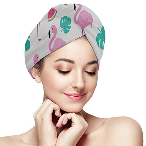 QHMY Flamingo Pink Fashion Accessory Pack of Hair Towels Hair Dry Soft Absorbent Quickly Dry Hair Turban Hair Drying Cap Towel Quick Drying Hair Towel Quick Dry Hair Towel